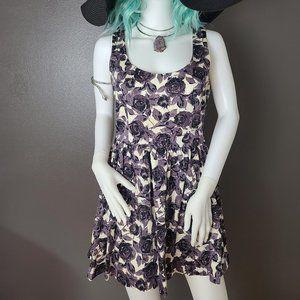 XXI Brand Purple & Black Rose Floral Print Dress